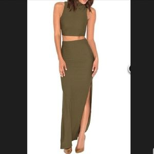 80671cdb5e4e ... Marciano Black Top Luxxel Red Dress Two Piece Military Green Bandage  Set ...